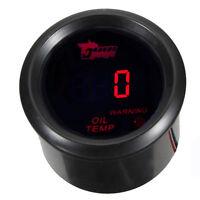 "2"" 52mm Black Car Motor Digital Red LED Oil Temp Temperature LED Gauge Meter HB"