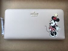 Kate Spade PWRU5875 Minnie Mouse Lacey Zip Wallet Disney Beige Light Khaki NWT