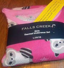 Sz L 10/12 Brand New Girls Falls Creek Thermal Pink Underwear Set Raccoons Cute