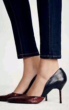 Free People Candy Dancer Heel Pumps Black Snake Print Leather Spain Sz 38 $158