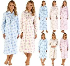 Ladies Slenderella Long Sleeve Floral 100% Brushed Cotton Flannel Nightdress
