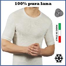maglia intima termica da uomo in pura lana girocollo mezza manica t-shirt corta