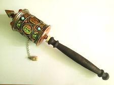 "Large Buddhism Spirituality Hand Held Prayer Wheel Tibetan Mantra 10"" Long"