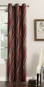 No.918 Intersect Ogee Print 95-Inch Grommet Top Window Curtain Panel in Paprika