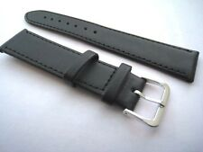 Black leather watch straps. Stitched with steel buckle. 10mm to 24mm. From UK.