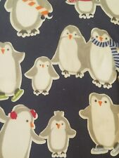 NEW POTTERY BARN PENGUINS NAVY FLANNEL 4 PIECE QUEEN  SHEET SET
