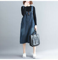 Women Casual Strap Dungaree Dress Knee Length Pinafore Brace Skirt  Loose Denim