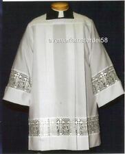 Square Yoke Surplice IHS Lace Latin Cross Insert Smooth Cotton Poplin USA Made