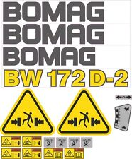 Bomag BW172D-2 Aftermarket Decal Kit with controls and warnings.