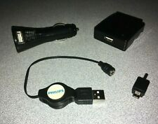 Philips Retractable Cell Phone Mp3 Pda Gps Charger Usb Cable Wall & Car Adapters