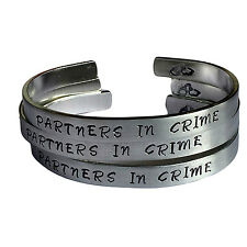 """Partners in Crime - Three Piece Stacking Cuff Bracelets Set Personalized 1/4""""..."""