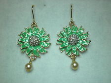Green flower enamel effect drop earrings in gold tone with glass pearl drop. 5cm