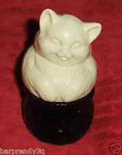 Vtg Avon Field Flowers Cream Sachet Bottle Glass White Kitty Cat On Basket Jar