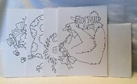 NEW Set Lot Of 4 Animal Coloring Greeting Note Cards - Unused