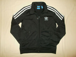 ADIDAS FULL ZIP BLACK W/WHITE STRIPES ATHLETIC JACKET BOYS SMALL EXCELLENT COND.