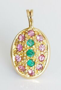 Beautiful 9ct Yellow Gold Emerald & Pink Sapphire Cluster Drop Pendant Necklace