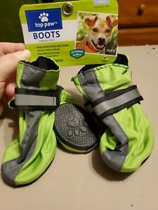 Top Paw Small Dog Boots Green Nonskid Reflective Water Resistant New