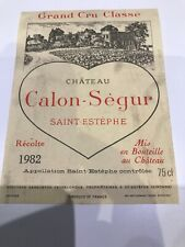 Chateau Calon-Segur 1982 Vintage Wine Label Collectable Excellent Condition