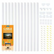 Cable Concealer On-Wall Cord Cover Raceway Kit - 12 White Cable Covers - Cabl...