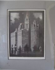 CHICAGO WRIGLEY, TRIBUNE, MEDINA SPIRES ARCHITECTURE ART PRINT artist signed