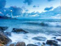 PHOTOGRAPHY SEASCAPE LIGHTHOUSE STORMY WEATHER WAVES ART PRINT POSTER MP3542B