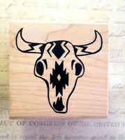 Bull Horns  Head Skull Rubber Stamp Southwest Decor  Copper Leaf Creations  Rare