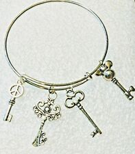 Bangle Charm Bracelet Keys Skeleton Key Mickey Mouse Peace Sign Jewelry