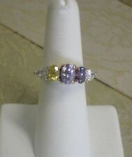 Elegant 14K GE Gold Electroplate Fashion Ring w/ 5 Colored CZ Stones Size 6.25