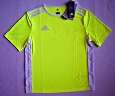 Nwt Adidas Boys Large Neon Yellow White Striped Soccer Entrada 18 Jersey Shirt