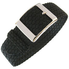 20mm Eulit PALMA Black One-Piece Woven Nylon Perlon German-Made Watch Band Strap