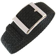 22mm Eulit PALMA Black One-Piece Woven Nylon Perlon German-Made Watch Band Strap