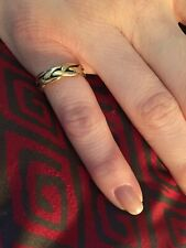 14k Solid Gold Vintage Braided Ring Band