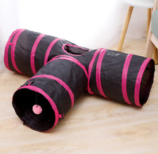 3 WAY T Shape Foldable Exercise Tunnel Pet Cats Rabbits Small puppies Toys