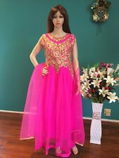 """38"""" S New Salwar Kameez Bollywood Indian Net Outfit Pink Gold Party Dress M21"""