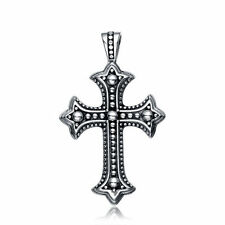 "BEST SILVER CROSS SOLID 925 STERLING SILVER PENDANT PERFECT CHAIN 24"" NECKLACE"