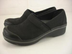 Womens 7.5 8 38 Dansko Vegan Volley Canvas Black Clogs Slip-Resistant Shoes Work