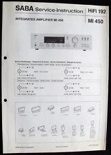 SABA HiFi 192 - Amplifier MI 450 Schaltbild Ersatzteilliste Service-Instruction