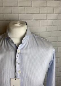 """T.M. LEWIN Hemd blau gestreift 15.5"""" - 34.5"""" Slim Fit Knopf Manschette"""