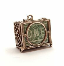 Vintage 925 Sterling Silver ONE POUND £1 NOTE MAD EMERGENCY MONEY Charm 5.1g