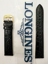 Original Longines 18mm L682100662 Black Leather Watch Band Strap w/ Gold Buckle