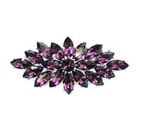 Vintage Style Purple Crystal Flower Bouquet Party Prom Wedding Brooch Pin BR330