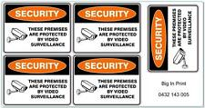 SECURITY VIDEO SURVEILLANCE IN USE VINYL STICKER 70mm x 51mm / Decal / Sign x 5