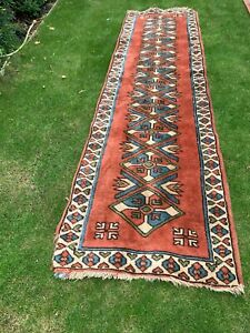 Vintage Hand Made Traditional Oriental Wool Pinky/Apricot/Blue V.Long Rug/Runner