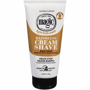 SoftSheen Carson Magic Razorless Cream Shave  Bald Smooth Head Maintenance 6 oz