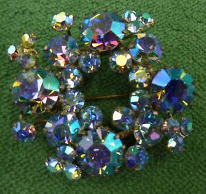 Vintage Aurora Borealis Cluster Brooch Pin - signed TRIAD