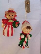 Lot 2 Wooden Christmas Ornaments Vtg 1985 Skier Mama Bear Dakin
