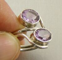 Faceted AMETHYST .925 Solid Sterling Silver Ring - Size US 51/2 UK K1/2 - F56
