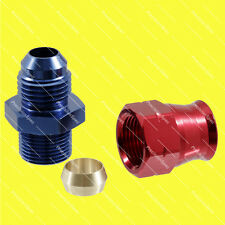 "AN6 Male to 3/8"" (9.5mm) Hardline Tube Fitting Adapter - Red / Blue"