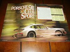 1988 PORSCHE 911 CLUB SPORT ***ORIGINAL ARTICLE / ROAD TEST***
