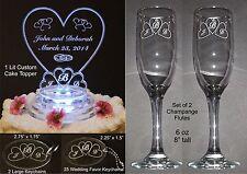 30 Pc Monogram Heart Lighted Wedding Cake Topper Acrylic Cake Top + Favors Flute